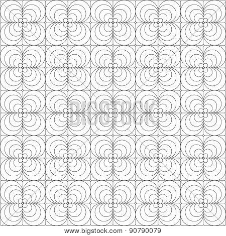 Seamless Black And White Square - Floral Pattern