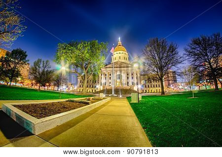 Topeka Kansas Downtown At Night