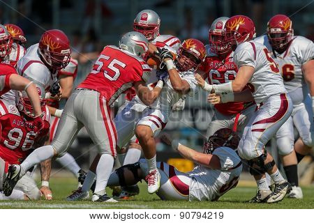 VIENNA, AUSTRIA - MAY 26, 2014: LB Paul Werner (#55 Austria) makes a tackle.