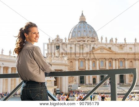 Smiling Woman In Vatican City In Rome Looking Over Shoulder