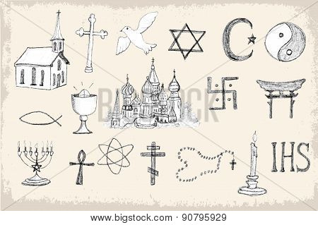 Set Of Trendy Vector Religion Elements