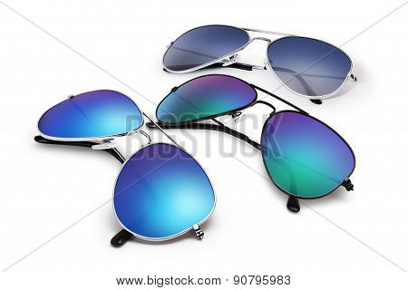 Aviator Sun glasses Isolated On White Background With Blue Mirrored Lenses