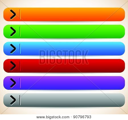 Empty, Blank Oblong, Long Horizontal Buttons, Banners With Arrows. Vector