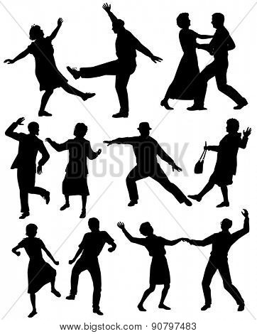 Set of editable vector silhouettes of elderly couples dancing together with all figures as separate objects