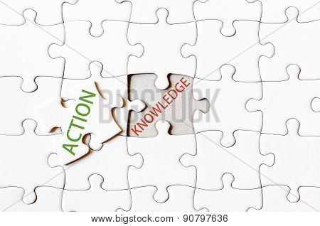 Missing Jigsaw Puzzle Piece With Word Action