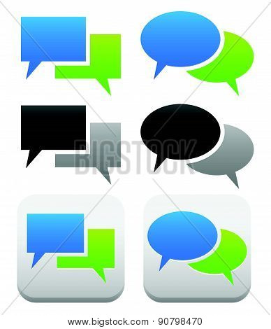 Speech, Talk Bubble Symbols And Buttons With 2 Overlapping Shape. Oval, Rectangular Versions