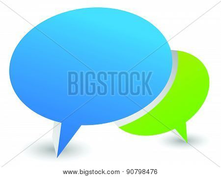 3D Illustration Of Two Overlapping Speech Or Talk Bubbles