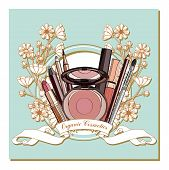 organic Cosmetics.  set of decorative cosmetics - powder, lipstick, lip gloss, pencil and liner. vector illustration for cosmetic banners, brochures and promotion poster