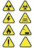 Vector illustration set of different hazmat warning signs. All vector objects and details are isolated and grouped. Colors and transparent background color are easy to adjust. Symbols are replaceable. poster