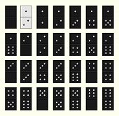 Vector illustration. Metaphor one white bone stands out from the crowd of black dominoes. poster