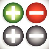 Set of plus minus add remove signs symbols or icons. Vector graphics. poster
