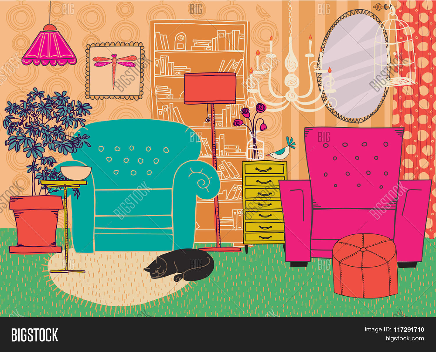 Hand Drawn Living Room Furniture Vector & Photo | Bigstock