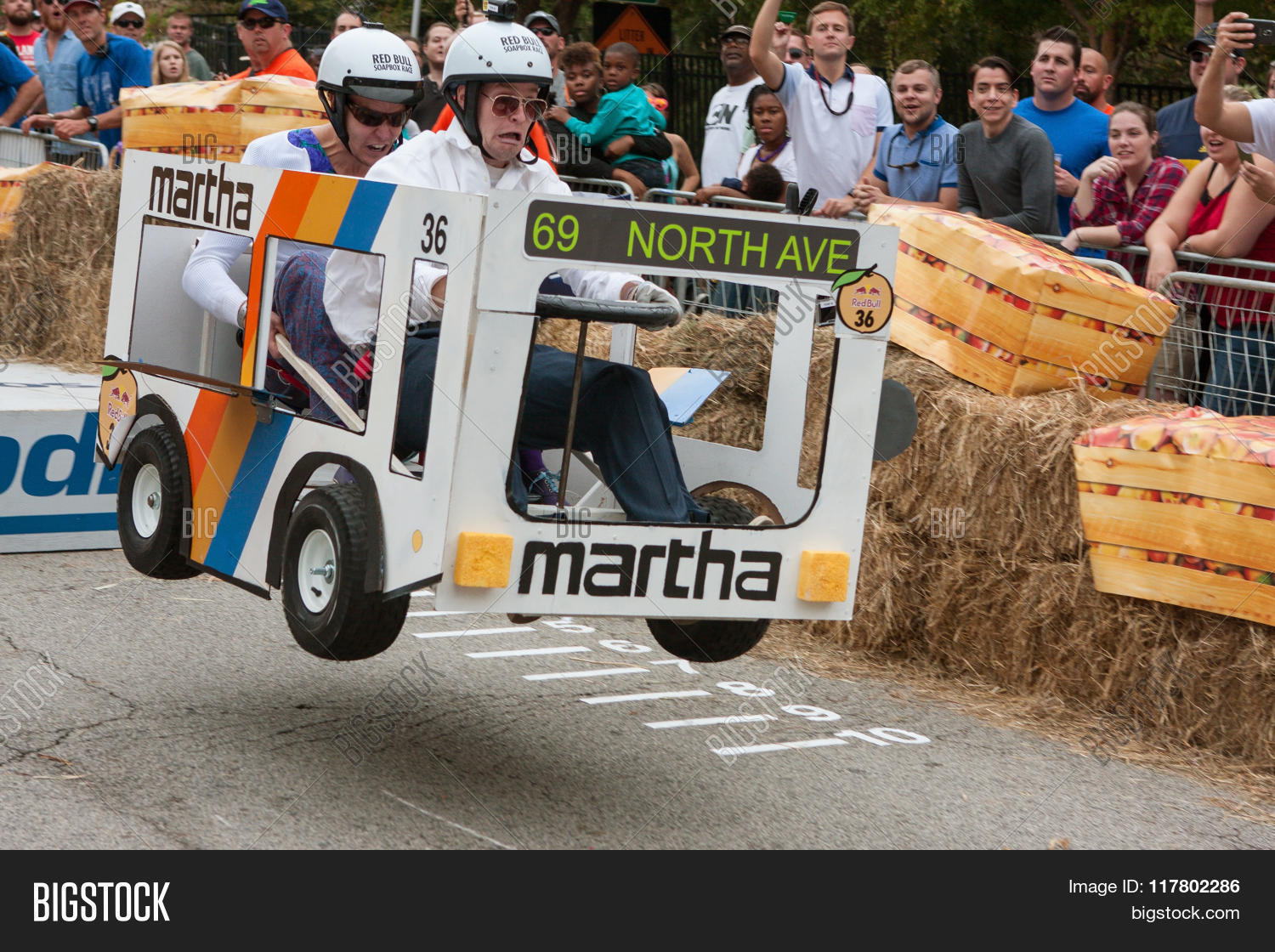 Red Bull Soap Box Derby >> Competitors Racing Bus Image Photo Free Trial Bigstock
