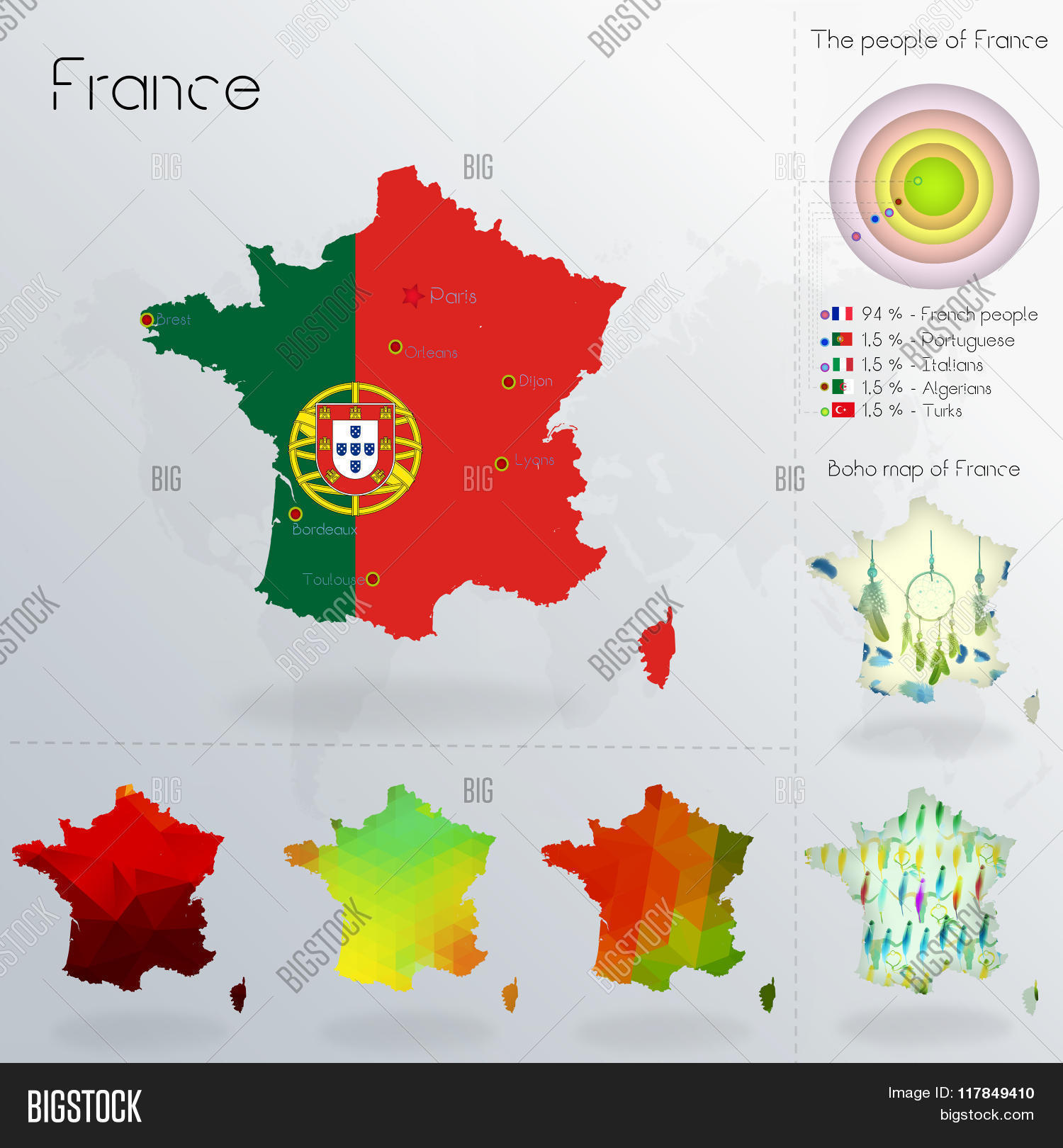 Map Of France Political.Modern Geometric Vector Photo Free Trial Bigstock