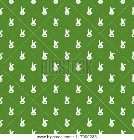 Seamless pattern with rabbits and stripes in rhomb shape for design of Easter items.