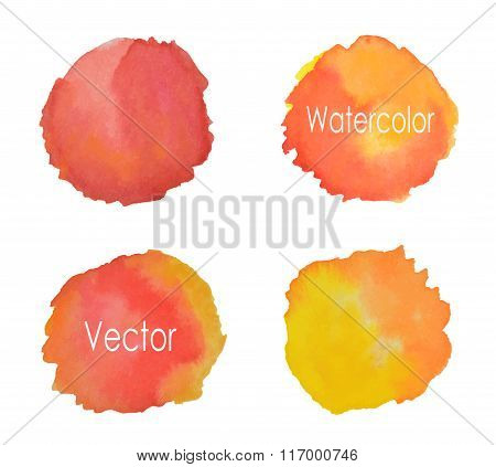 Four round watercolor elements for your design, vector  illustration