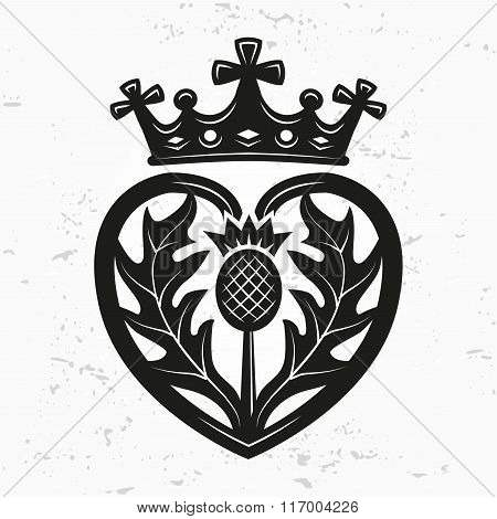 Luckenbooth brooch vector design element. Vintage Scottish heart shape with crown and thistle symbol