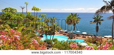 Area of a luxury hotel against Atlantic ocean. Tenerife island, Canaries