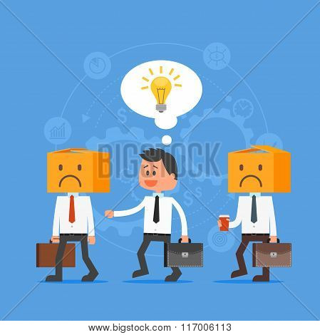 Cartoon businessman with idea outstanding from crowd. Think out of the box. Vector concept illustrat