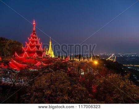 Mandalay Hill Temple At Night, Mandalay, Myanmar