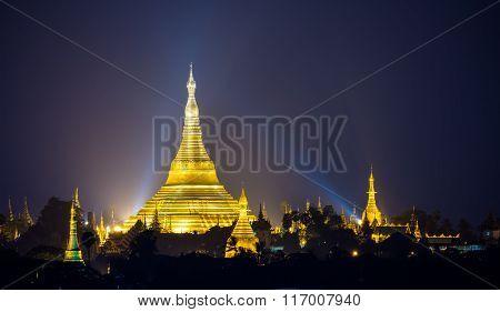 Shwedagon Pagoda At Night, Yangon,myanmar