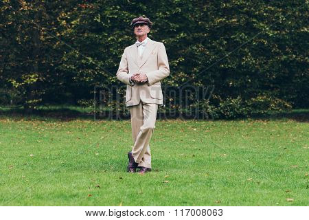 Dandy Standing On Lawn With Tall Hedge.
