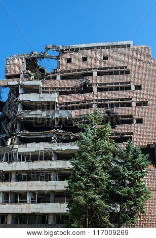 former Yugoslav Ministry of Defence building destroyed during NATO bombing in Belgrade city Serbia