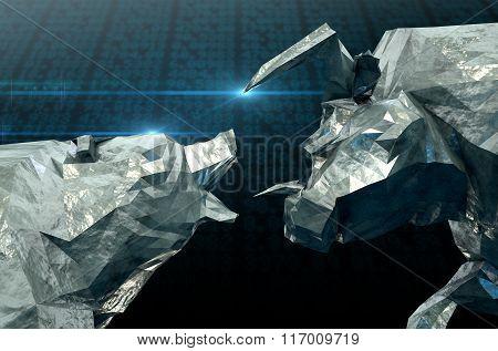 Bull Bear Chiseled Figures
