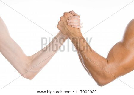 Bodybuilding & Fitness Topic: Arm Wrestling Thin Hand And A Big Strong Arm Isolated On White Backgro