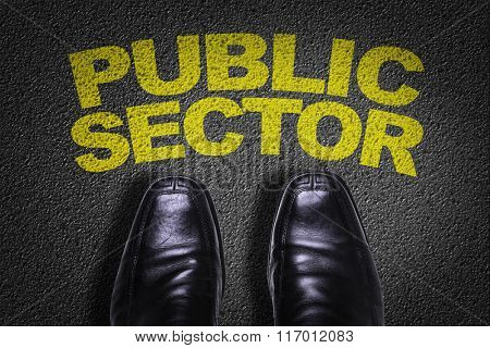 Top View of Business Shoes on the floor with the text: Public Setor