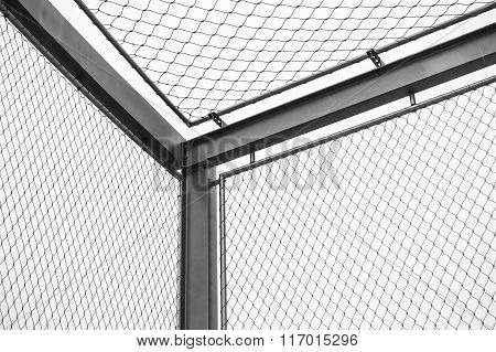 Corner Of Steel Chain Link Fences, Restricted Area