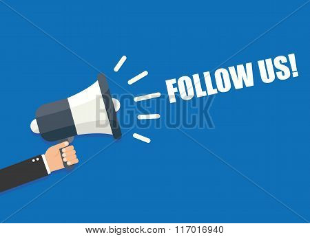 Follow us vector illustration isolated on - background poster