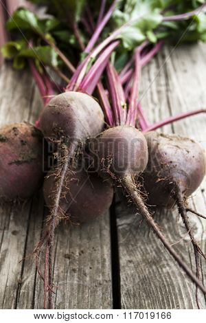 Beetroot On Wooden Background
