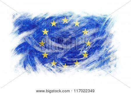 Europe Flag Blackboard Chalk Erased Isolated