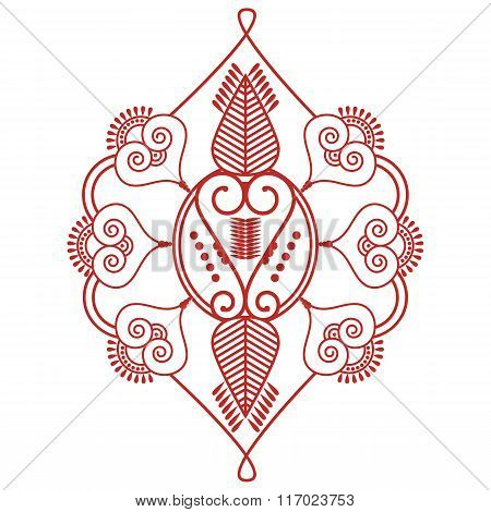 Asian culture inspired  wedding makeup  henna tattoo decoration Two leaves shape floral decoration