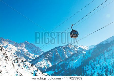 Ski lift, cable car at Medeo to Shymbulak route near Almaty