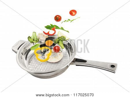 Vegetables Falling In The Pan