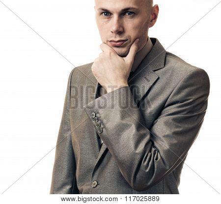 Business Man Thinking Isolated On White Background