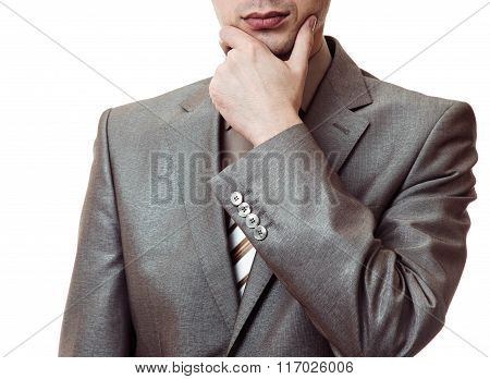 Business Man In Suit Thinking Isolated On White Background