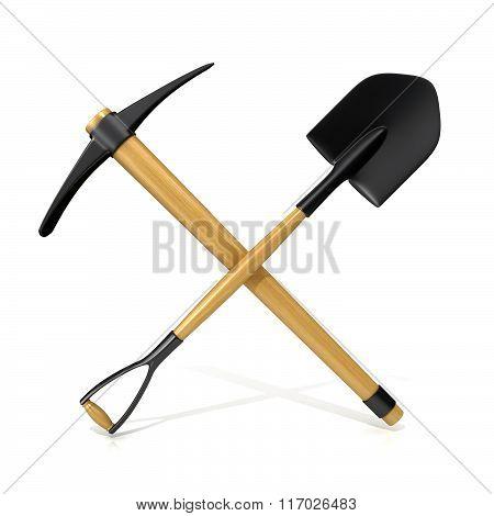 Mining tools shovel and pickaxe. 3D