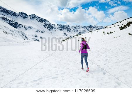 Winter Running Woman. Trail Runner Inspiration, Sport And Fitness