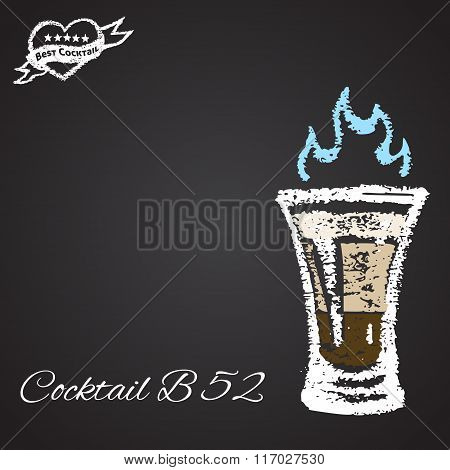 Colored chalk painted illustration of cocktail B 52. Best cocktail theme.