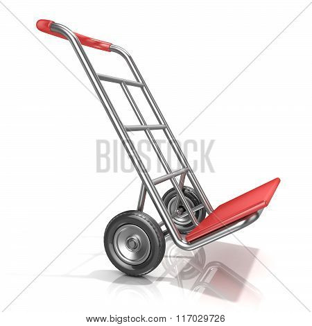 An empty hand truck isolated on white background. 3D