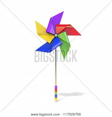 Pinwheel toy five sided differently colored vanes. 3D