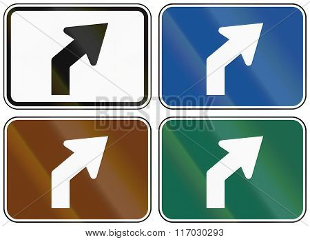 Collection of lane direction signs of the United States MUTCD. poster
