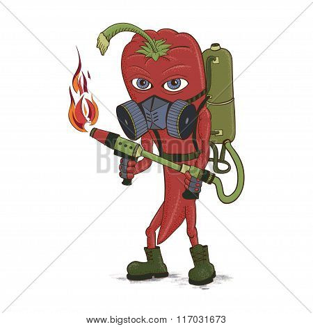 Hot pepper. Abstract pepper with a flamethrower and a respirator.