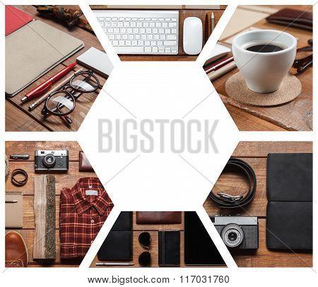 Collage of men's accessories