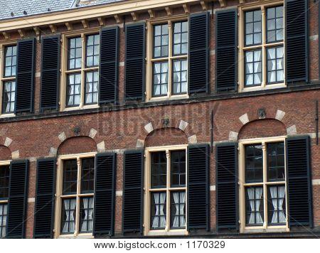 Stylish Windows With Black Shutters & Beige Frames