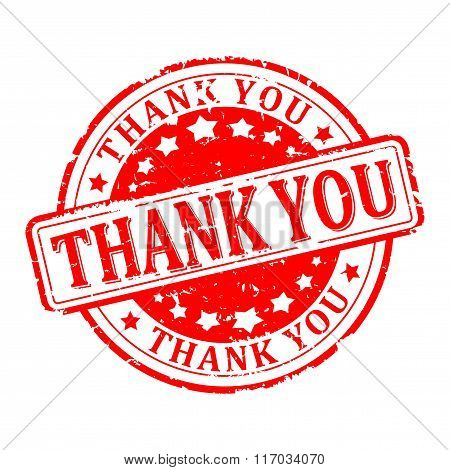 Damaged Round Red Stamp With The Words - Thank You - Vector