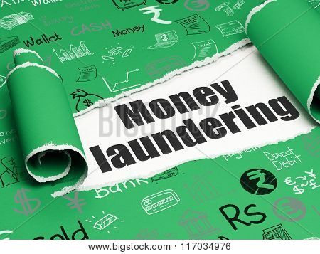 Banking concept: black text Money Laundering under the piece of  torn paper